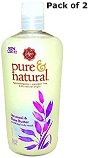 Pure & Natural Body Wash Oatmeal and Shea Butter 16 Fl Oz (Pack of 2)