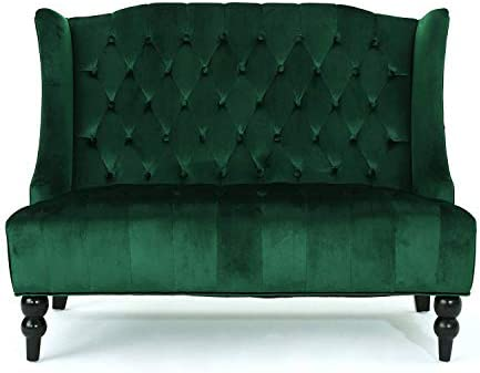 Best Contemporary Wingback Loveseat - Tufted Velvet Fabric Upholstery Sofa Couch in Accent Colors (Emeral