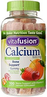 VitaFusion Calcium 500 mg Dietary Supplement Gummies Natural Fruit and Cream Flavors - 100 ct, Pack of 4