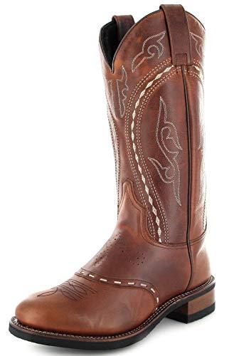 Sendra Boots Damen Lederstiefel 8325 Tang Lammfellfutter Braun 37 EU