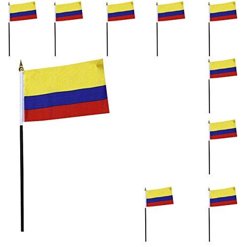 Sonia Originelli 10er Set Mini Flaggen WM Fußball 10x15 cm Party Anfeuern Fahnen Farbe Kolumbien