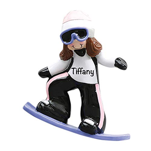 HolidayTraditions Snowboarding Girl Personalized Ornament - Unique Christmas Tree Ornament - Special Keepsake - Custom Sports Decoration - Personalization Included