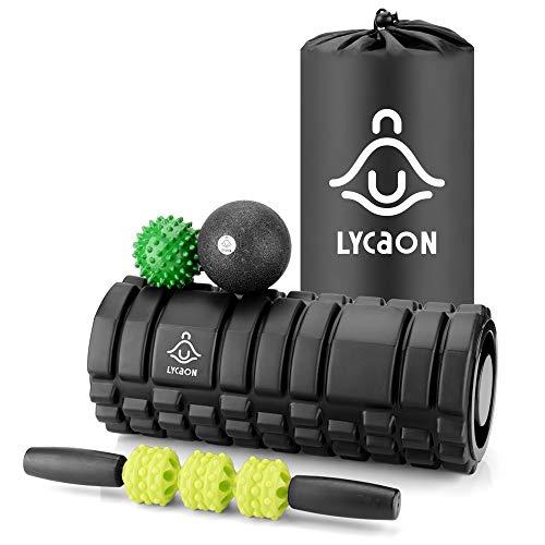 LYCAON 5-en-1 Foam Roller Kit , Rodillo de Yoga, Palo de Masaje, Pelota de Masaje EPP, Pelota de Masaje con Picos y Bolsa de Almacenamiento. para Tensión/Fitness/Yoga/Pilates