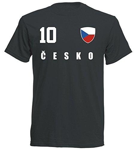 Tschechien WM 2018 T-Shirt Trikot - schwarz ALL-10 - S M L XL XXL (L)