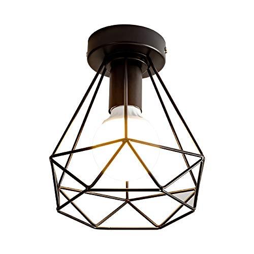 Lámpara de pared industrial Vintage para interior E27, accesorios de pared de madera, jaula negra para pájaros accesorios de pared perfectos para sala de estar dormitorio cocina restaurante café loft