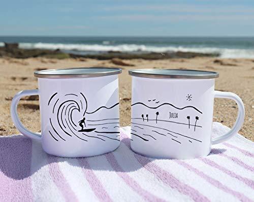 10 oz personalizado campamento taza surf decoración surf arte regalo para surfista Hawaii decoración personalizado esmalte taza personalizar playa California café taza