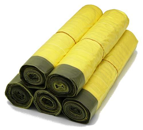 5 Rollen Gelber Sack, Gelbe Säcke mit praktischem Zugband, 90 Liter, 15µ - Wertstoffsack