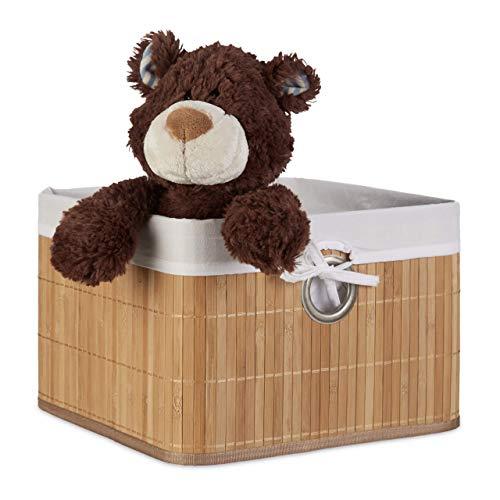 Relaxdays Corbeille Panier de rangement Housse amovible poignée Boîte de stockage étagère armoire H x l x P 20 x 31 x 31 cm- couleur naturelle