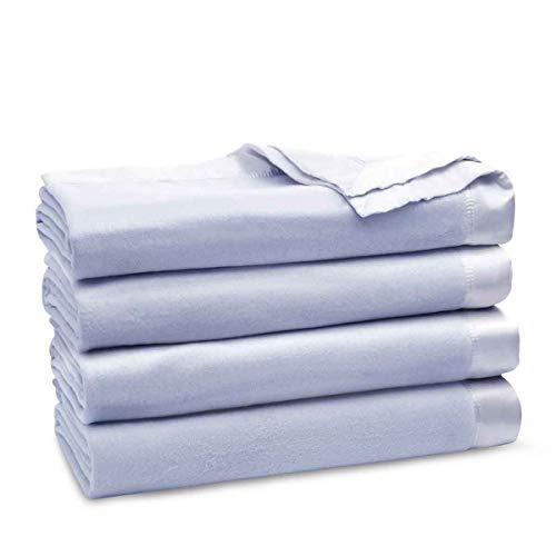 ElleSilk 100% Soie Couverture Toute la Saison, Chaude et Respirante, Hypoallergénique, Bleu, Super King (220 cm x 240 cm)