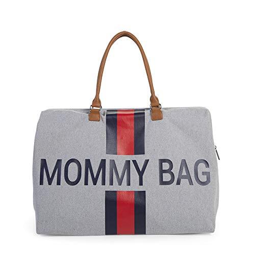 Childhome Wickeltasche MOMMY BAG groß in Canvas hellgrau mit rot-blauen Streifen, inklusive Wickelmatte und Schultergurt, 55 x 30 x 30 cm