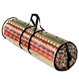 Christmas Wrapping Paper Storage Bag - Fits 14 to 20 Standard Rolls Upto 40'- Slim Design Underbed Wrapping Paper Storage Container or Closet Storage Gift Wrap Organizer, Water Proof PVC Fabric, Clear