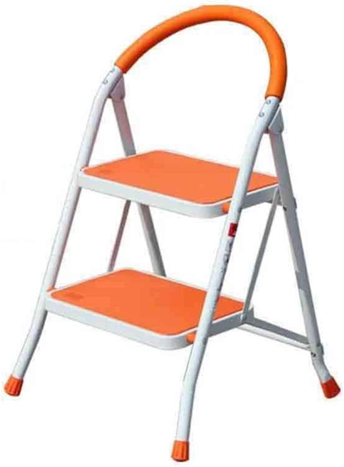 XITER 2 3 Step Folding Ladder Stool Step Stool, Heavy Duty Iron Portable With Anti-Slip Mat ladders (color   orange, Size   2 floors)