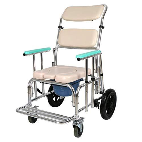 GoodWell WC Toilettenstuhl Mit Rädern, Fahrbarer Höhenverstellbar WC Rollstuhl Fußstützen,Armlehnen Für Behinderte Person, Ältere Menschen Und Schwangere Frauen