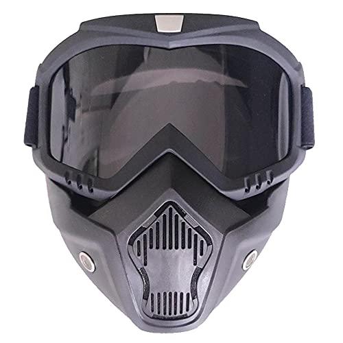 XINYIND Máscara De Motocross Con Máscara Extraíble y Filtro Boca Estilo Harley Casco Equitación Gafas De Sol Regalo De San Valentín Para Casco Abierto Motocross Ski Snowboard - Lentes Grises