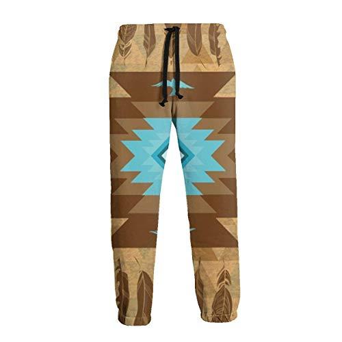 136 Pantalones deportivos para hombre, estilo étnico, nativo americano, pluma, color marrón