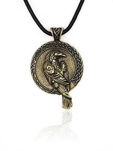Eviltailors Colgante Vikingo Cuervo de Odin Estilo Nórdico Medieval para Hombre y Mujer Aleación