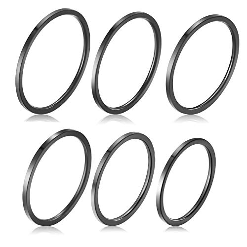 Zysta 6 stück 1MM Damen Ringe Set Edelstahl Midi Stacking Ringe Fingerring, Größe 46.8(14.88) - 59.5(18.95) (Schwarz)