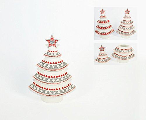 2Esse Barattolo Natalizio a Forma di Albero di Natale in Ceramica. Portabiscotti e/o Alimenti Varie colorazioni Disponibili.