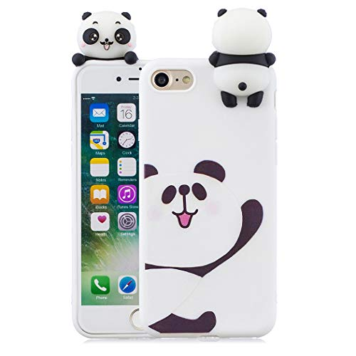 EuCase Coque iPhone 8 Silicone Blanc Housse Etui iPhone 7 Antichoc Mignon 3D Cartoon Dessin Animaux Ultra Mince Fine Souple TPU Case Protection Bumper Case Cover Ours Blanc