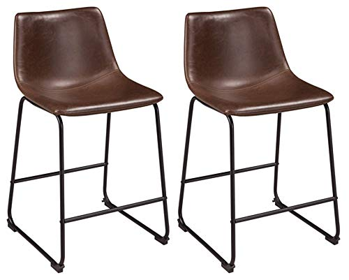 """Signature Design by Ashley Centiar 24"""" Counter Height Modern Bucket Barstool Set of 2, Brown"""
