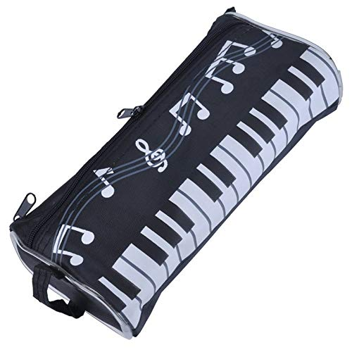 Bolso de la pluma con teclado de piano Caja de lápices de dibujos animados de caja de papelería para estudiantes de múltiples funciones - Negro