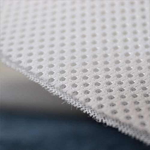 TODA Meterware 3D Air Mesh Netzgewirke Abstandsgewirke Netzfutter Stoff Schattiergewebe Innenfutter luftzirkulierend atmungsaktiv weiß 220 cm Breit