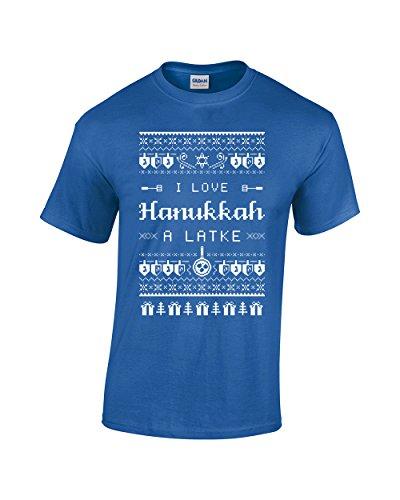 I Love Hanukkah A Latke Shirt - Funny Jewish Hanukkah Holiday - Chanukah Festival of Lights Men's T-Shirt (Large, Royal Blue)
