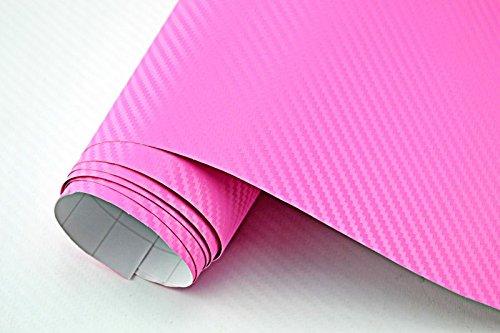Neoxxim 3,29€/m² Auto Folie - 3D Carbon Folie - PINK/ROSA - 100 x 150 cm - Meterware blasenfrei mit Luftkanälen Premium