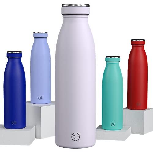 GH Botella de Agua acero Inoxidable 500ml Flor Lila | Frasco de Agua de Metal Reutilizable | Botella Termica Doble pared al vacío | Botella de bebida reutilizable Sin BPA, Antigoteo y Prueba de Fugas