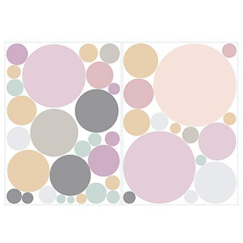 Wandtattoo 40 Kreise in zarten Pastellfarben Dekokreise Kinderzimmer Wandsticker Aufkleberset/Pastell-rosa