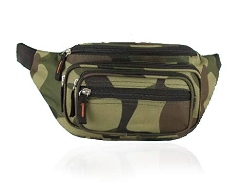 Treend24 Bauchtasche Camouflage Militär mit 5 Fächer / 7 Fächer Hüfttasche Anti Diebstahlt Tasche für Freizeit Sport Wanderung Fahrrad Damen Herren Multifunktion Tasche (Camouflage 1#)