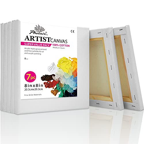 PHOENIX White Blank Cotton Stretched Canvas Artist Painting - 8x8 Inch / 7 Pack - 5/8 Inch Profile Triple Primed for Oil & Acrylic Paints