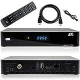 AX HD60 4K UHD 2160p E2 Linux 1x DVB-S2X Tuner Multistream Sat Receiver [Test SEHR GUT] HD HDTV, H.265, HDR, USB 3.0 [vorprogrammiert für Astra & Hotbird] inkl. Anadol HDMI Kabel + Infrarot Kabel