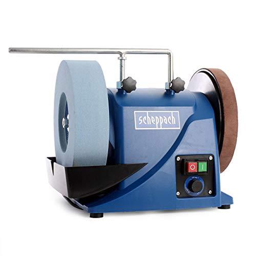 SCHEPPACH TIGER 3000VS Amoladora de Banco de Velocidad Variable de 90 a 150 rpm con dispositivo de Mantenimiento Universal que Ayuda al Afilado, 180W, Azul