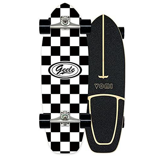 WRISCG Surfskate Skateboard Carving Pumpping Surf Skate Cruiser Boards, Completo Arce Tablero 78×24cm, Rodamientos de Bolas ABEC-11 Alta velicidad, para Principiantes y Profesionales, VOMI, A