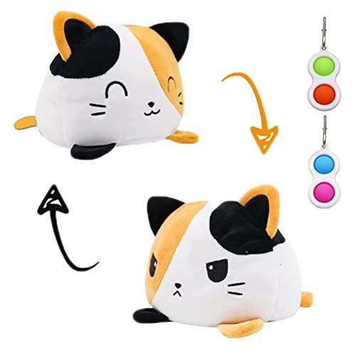 Gato de peluche reversible, juguete de emoción de felpa abatible, peluche suave de doble cara para mostrar tu estado de ánimo, con 2 juguetes simples de hoyuelos, Gato Amarillo