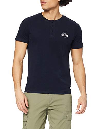 HIKARO Camiseta con Botones Hombre, Azul (Navy), 50 (Talla del fabricante: Medium)