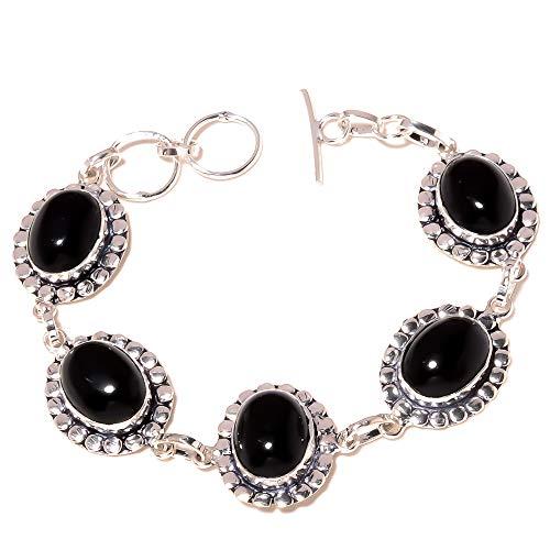 Retro Fashion! Black ONYX BRTACELET 7-9' Long, HANDMADE Sterling Silver...