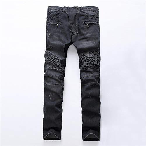WQZYY&ASDCD Jeans Vaqueros Pantalon Algodón Streetwear Hombres Skinny Biker Jeans Homme Straight Hombre Motocicleta Moto Hip Hop Pantalones De Mezclilla Joggers Runway Jean 33 1722Black