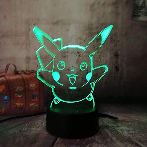 Ilusión óptica 3D Luz nocturna Pokemon lindo Pikachu sin marca 7 colores Interruptor USB Power Table Niños Juguetes Decoración Decoraciones Navidad San Valentín Regalo Regalo de cumpleaños