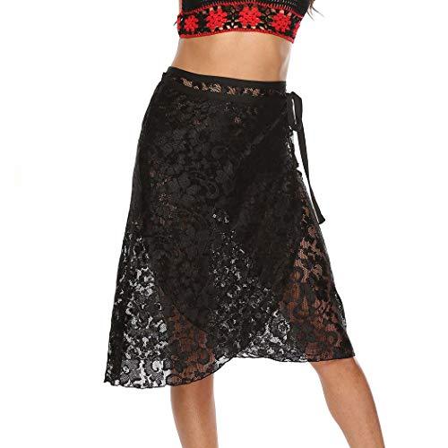 Sethain Mujeres Cordón Malla Falda de playa Negro con tirantes transparentes pareos playa Envuelva sobre la rodilla Bikini Cubrirlos para traje de baño (XL)