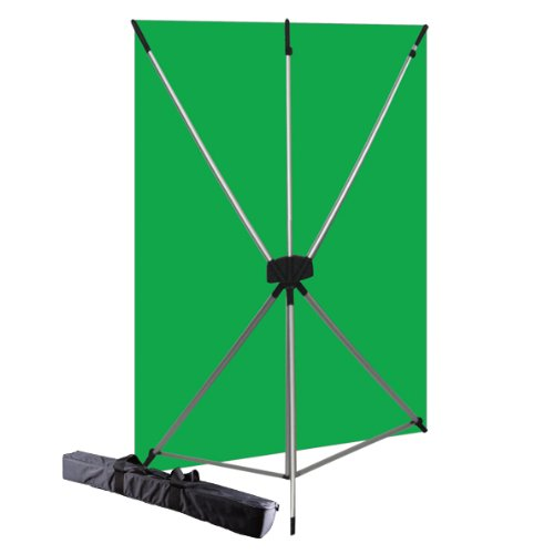 Westcott Wrinkle Resistant X-Drop Backdrop Kit - Chroma-Key Green Screen (5' x 7') Portable, Travel Friendly, and Easy to Build
