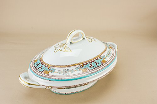 Neo-Classical Turquoise Glasgow Pottery Floral Scrolls TUREEN Dish Dining Small Scottish Late 19th Century LS