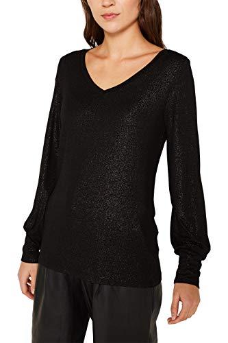 ESPRIT Damen 119EE1K013 Langarmshirt, Schwarz (Black 001), Medium (Herstellergröße: M)