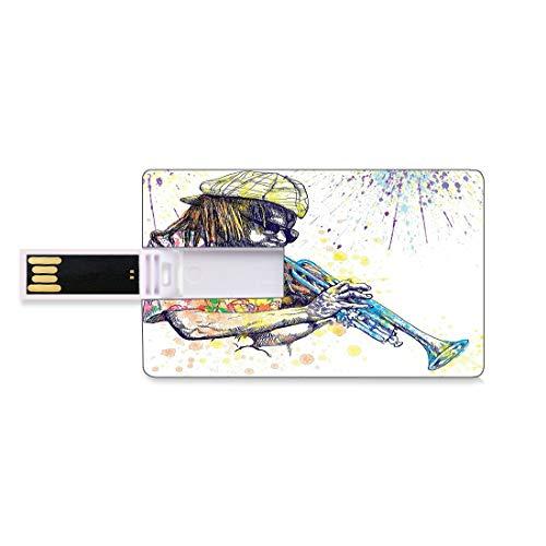 32 GB Clés USB à mémoire flash Illustration de musique jazz de trompettiste avec éclaboussures de peinture à l'arrière-plan Stockage de bâton de mémoire de disque de la clé U de forme de carte de créd