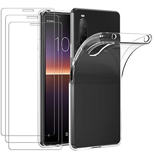 ivoler Hülle für Sony Xperia 10 II (2. Generation) + [3 Stück] Panzerglas, Durchsichtig Handyhülle Transparent Silikon TPU Schutzhülle Hülle Cover mit Premium 9H Hartglas Schutzfolie Glas