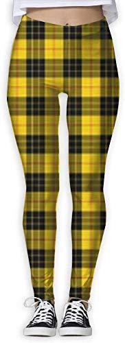 LVOE TTL Pantalon de survêtement yoga jogger taille haute leggings jaunes et gris à carreaux de buffalo pour femmes