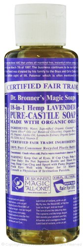 Dr. Bronners Magic Pure Castile Soap Organic Lavender - 4 Oz, 4 Pack (Image may vary)