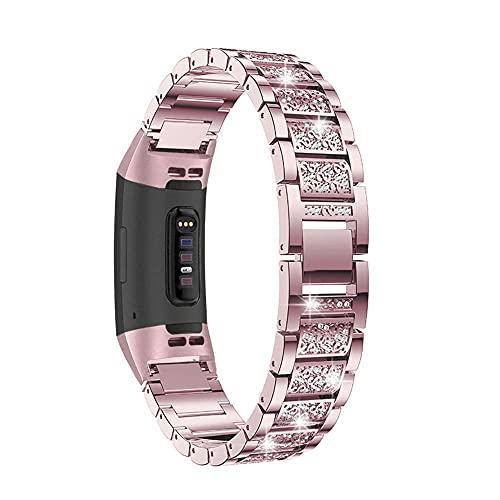 Compatible con Fitbit Charge 4/Fitbit Charge 3 Correa para mujer con diamantes de imitación, pulsera de metal, correa de repuesto para Fitbit Charge 4/3 Fitness Tracker negro correas de reloj ZBMZ