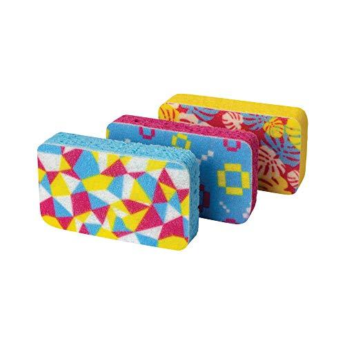 Casabella Cellulose Scrub Sponges, Plum, Lime and Orange Print , 3-Pack